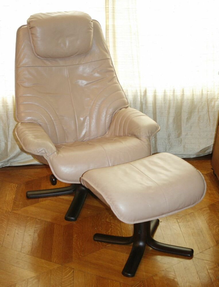Danish Modern Leather Rosewood Recliner Lounge Chair