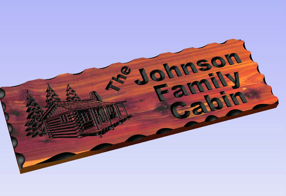 Personalized custom carved cabin cedar wood sign rustic for Personalized home decor