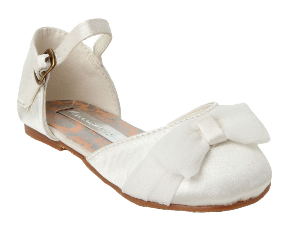 GIRLS IVORY SATIN WEDDING BRIDESMAID PARTY SANDALS SHOES