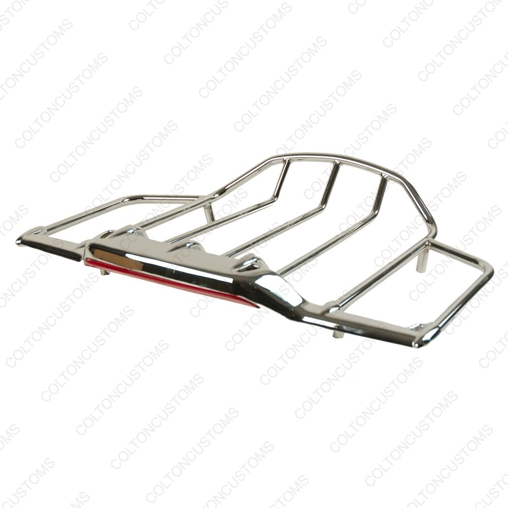 Chrome Led Lighted Airwing Amp Luggage Rack For Harley