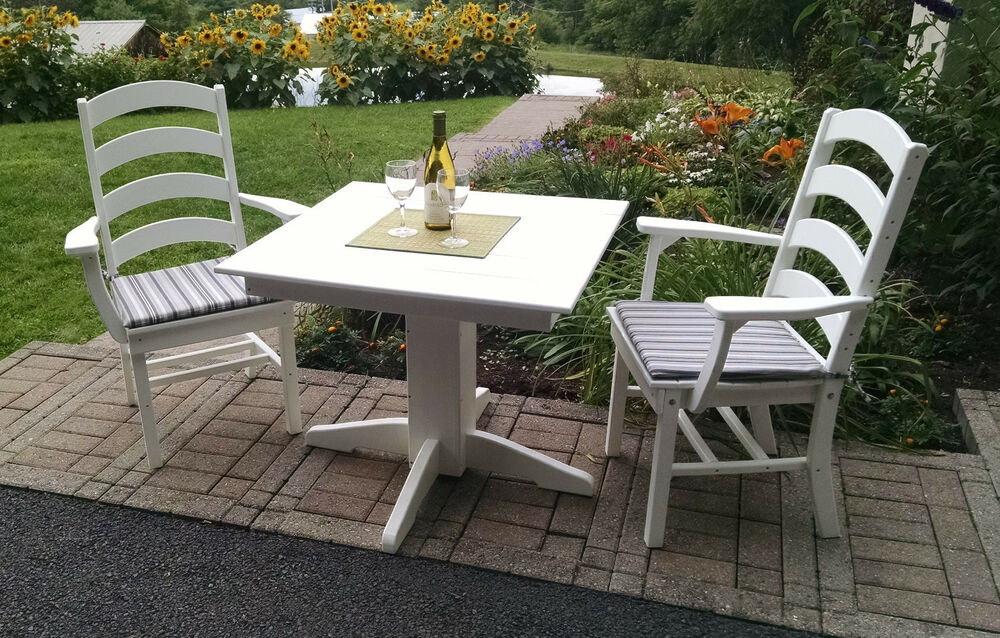 "Square Garden Table And 4 Chairs: Poly Lumber Wood Patio Set- 44"" Square Table And 4"