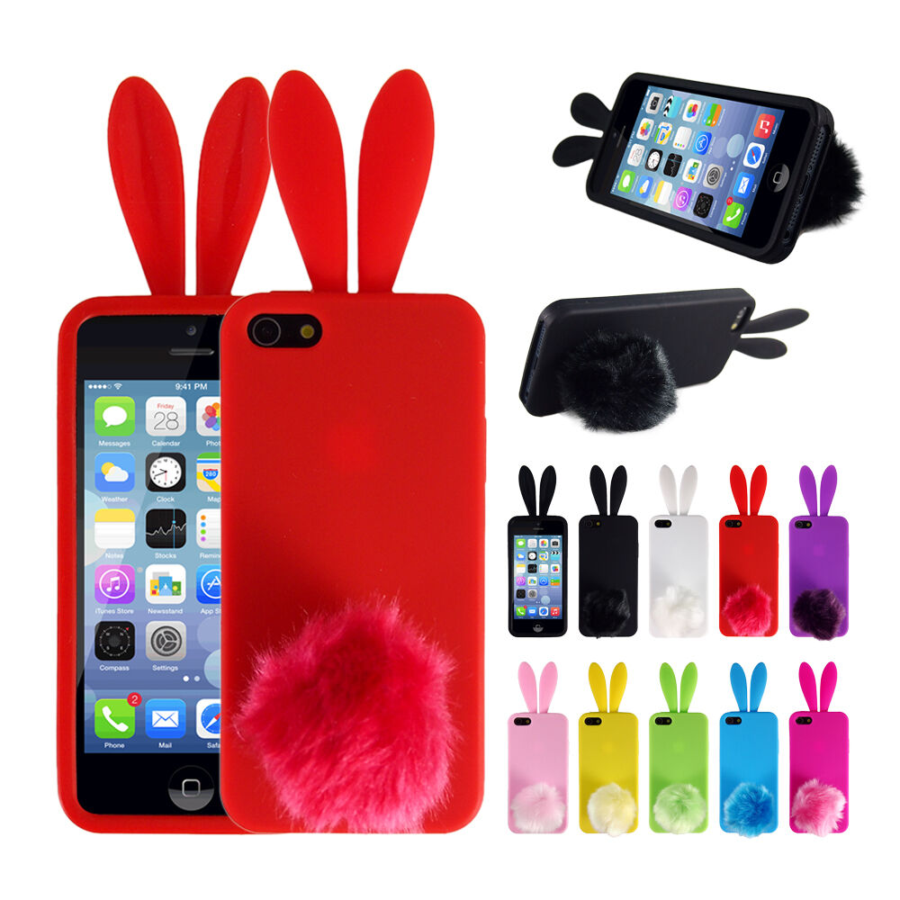 cute phone cases for iphone 5s soft bunny rabbit tpu back protector phone cover 2434