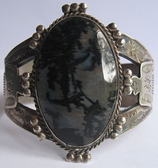Vintage Navajo Indian Silver Thunderbirds Amp Scenic Agate