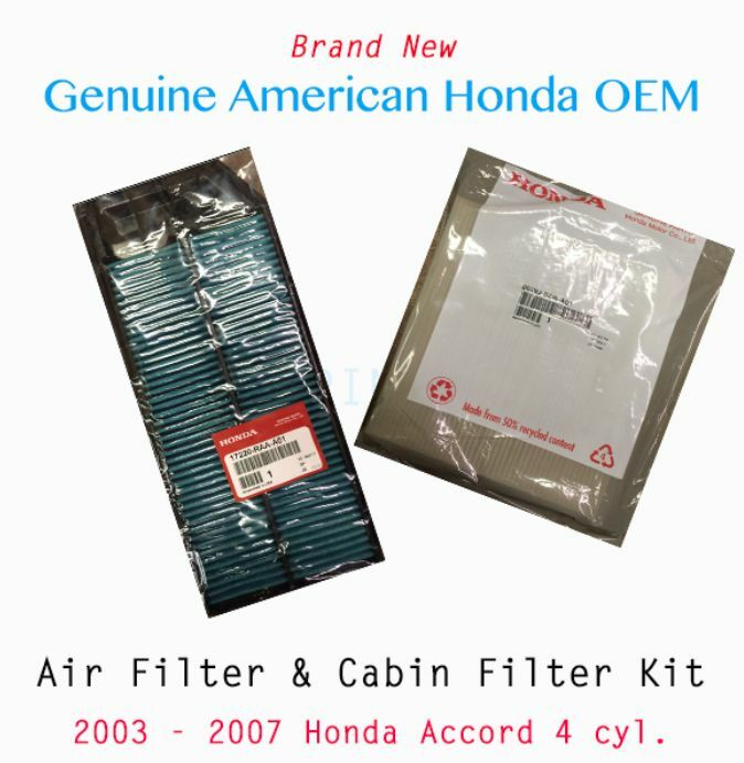 genuine oem honda   accord cyl engine air cabin filter ebay