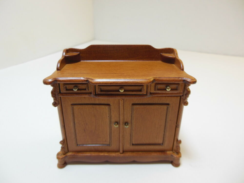 Dollhouse miniatures furniture 1 12 4455wn walnut cabinet for Furniture one