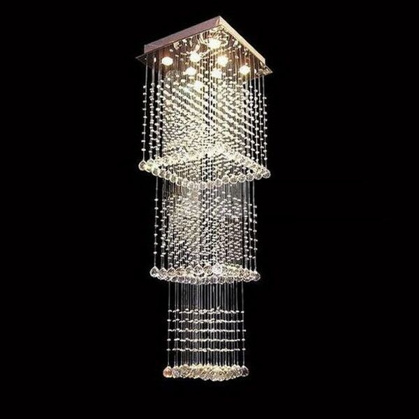 W24 x h79 rain drop crystal chandelier ceiling light - Lamparas modernas de techo ...
