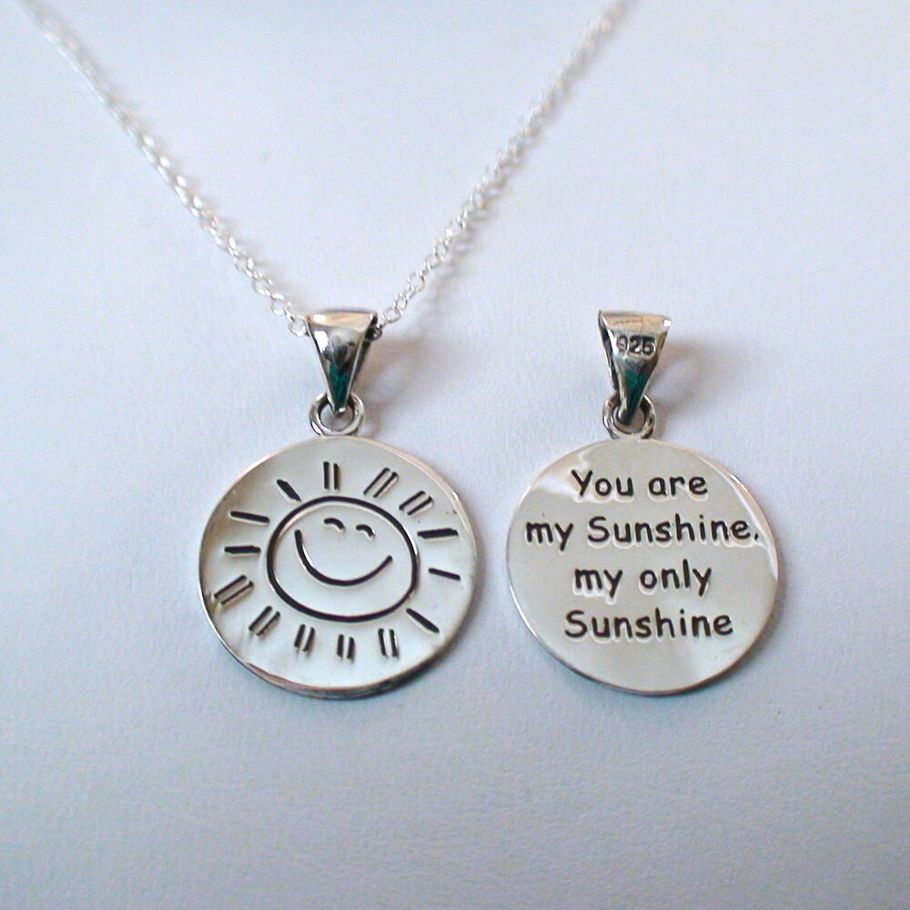 You Are My Sunshine Stamped Necklace 2 Sided 925