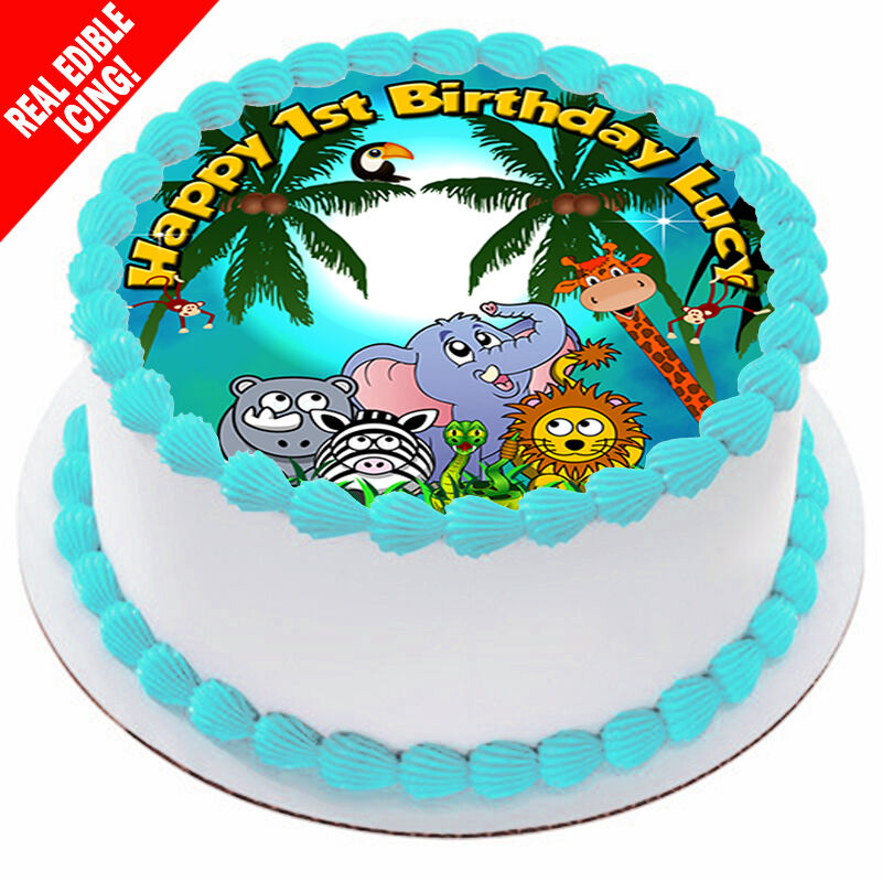 Edible Cake Decorations Woolworths : Jungle Animals Edible Icing Cake Image Personalised ...