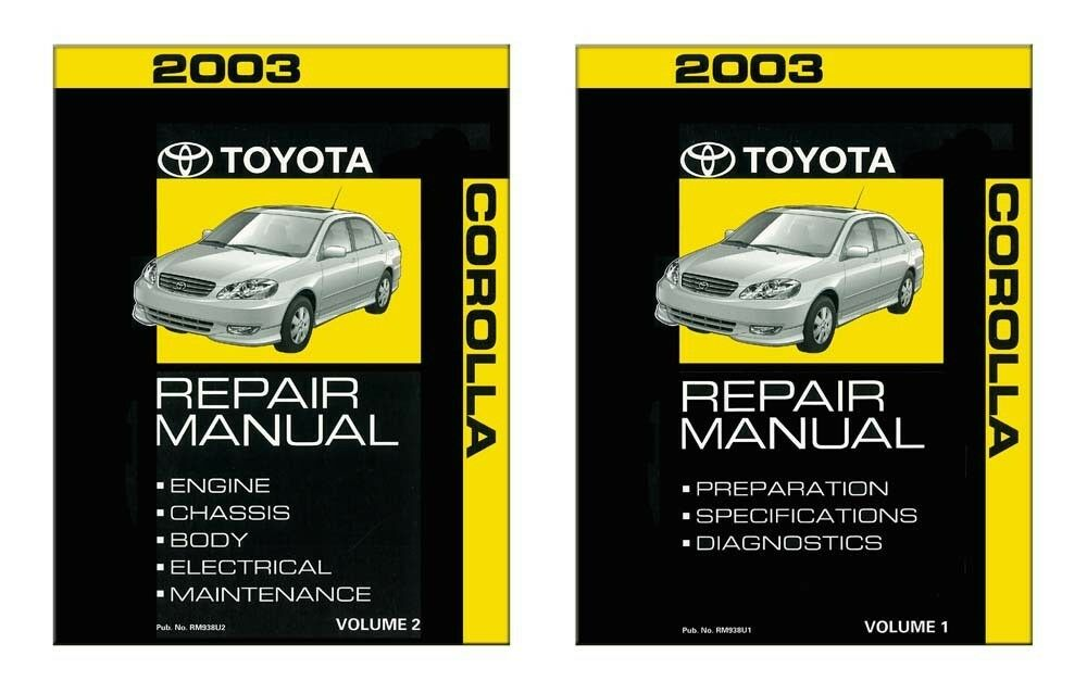 2003 toyota corolla shop service repair manual book engine. Black Bedroom Furniture Sets. Home Design Ideas