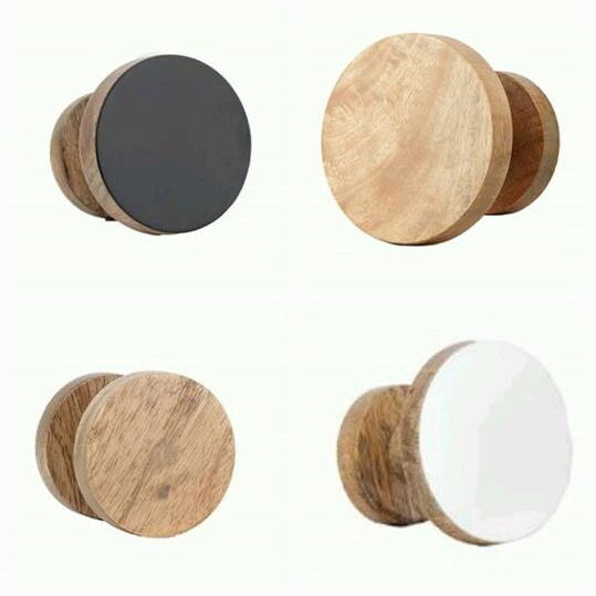 Round Hook Wooden Wall Mounted Knob Coat Holder Hat Jacket