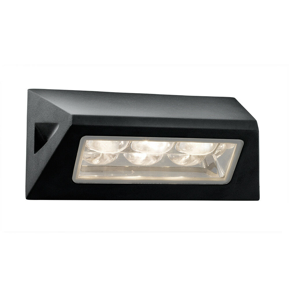 Wall Bracket Light Fittings : SEARCHLIGHT WHITE LED ALUMINIUM BLACK OUTDOOR OBLONG WALL FITTING BRACKET LIGHT eBay
