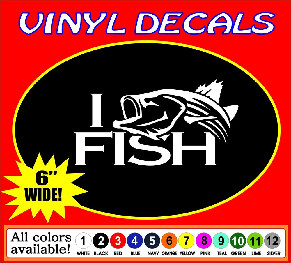 Striper striped bass fishing i fish truck car vinyl decal for Fishing stickers for trucks