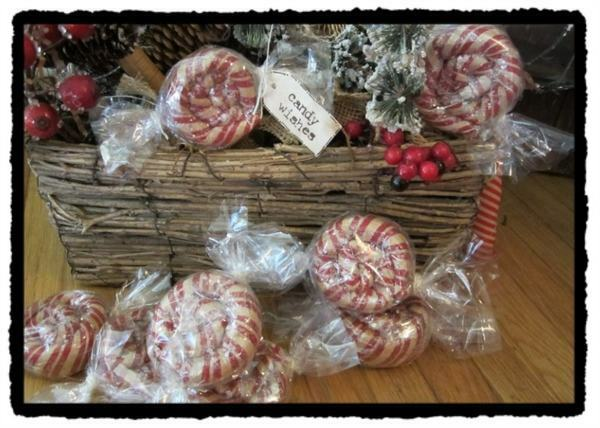 4 primitive ornies sweet wishes candies prim wrapped hard candy christmas ebay. Black Bedroom Furniture Sets. Home Design Ideas