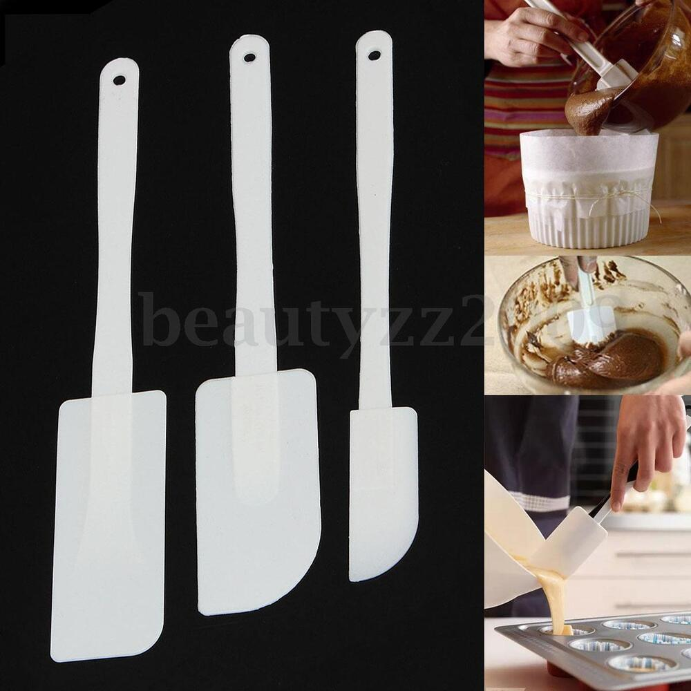 3pcs rubber spatulas scraper spoon brush kitchen filling