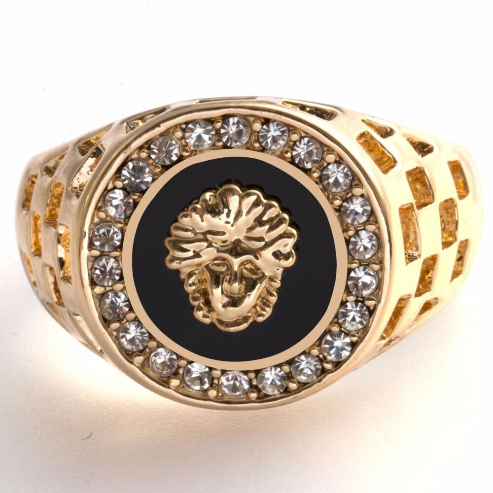 Gold Plated Medusa Mens yx Signet New Ring Womens Pinky Band Sizes M to Z