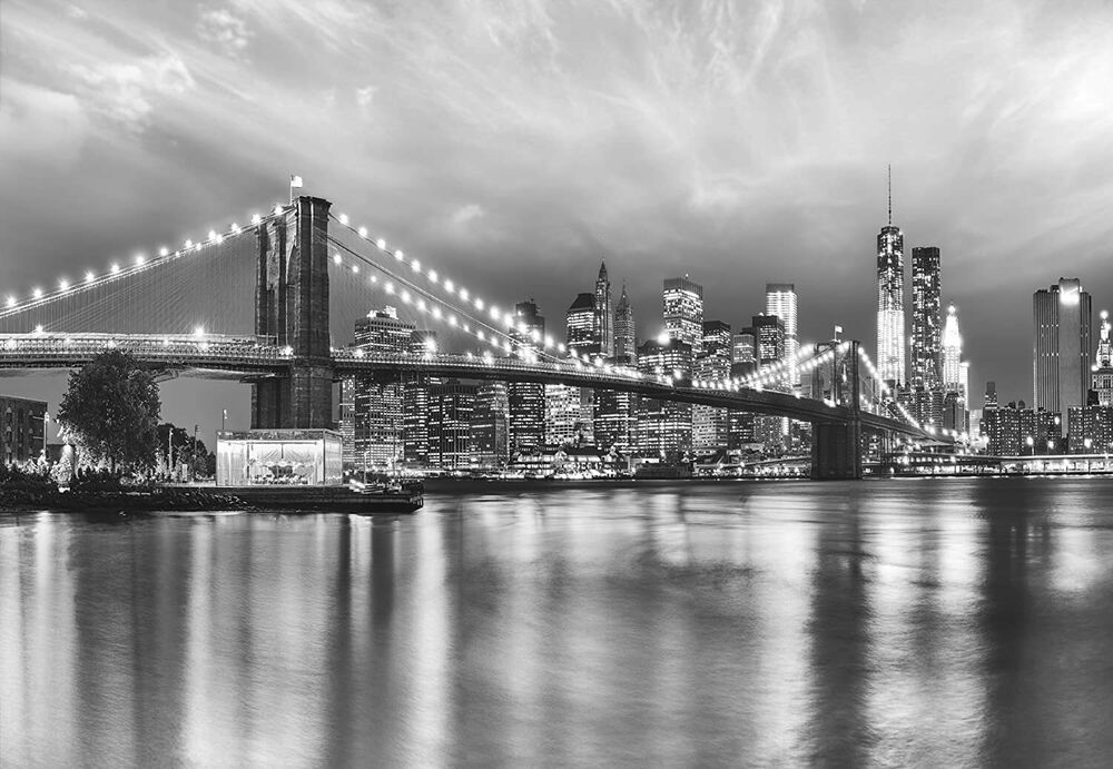 Wall mural photo wallpaper 368x254cm brooklyn bridge new for Brooklyn bridge black and white wall mural