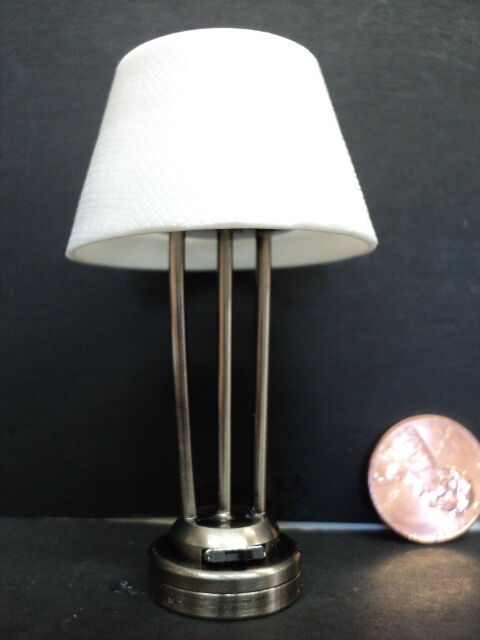 Dollhouse Battery Operated Table Lamp Platium Finish Ebay