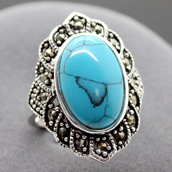 Fashion Natural Tibetan Turquoise 925 Sterling Silver Ring Jewelry Size7 8 9 10 Ebay