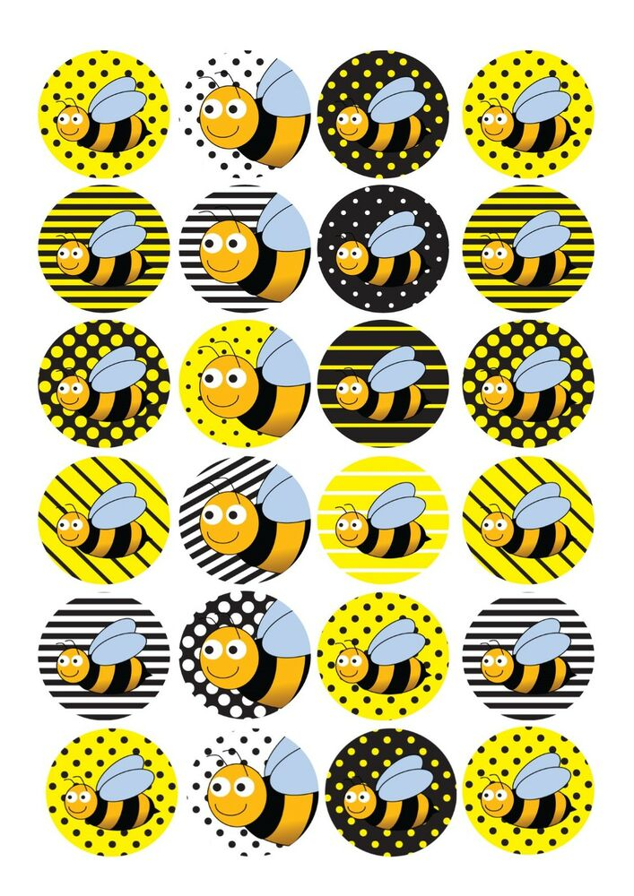 24 Edible Cake Toppers Decorations Bumblebee Bee Insect