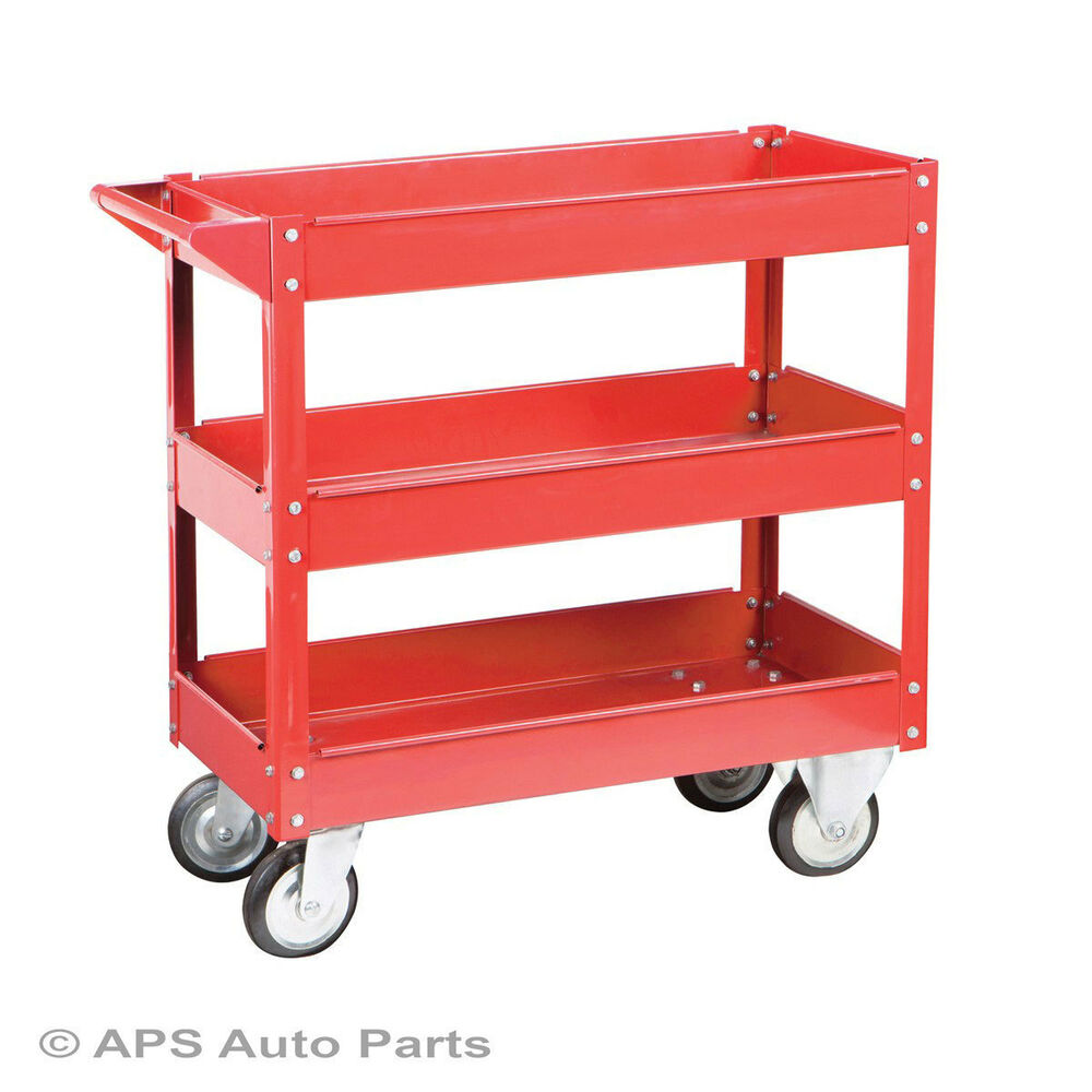 New Tool Cart Service Garage Utility Trolley 3 Tier Tool