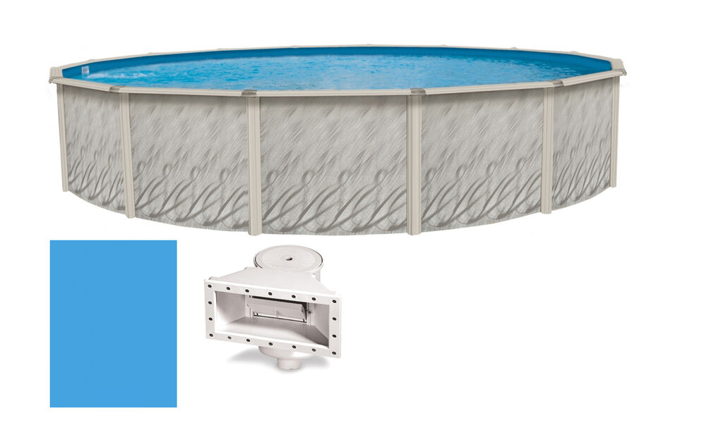 18 39 x52 ft round meadows above ground steel wall swimming pool liner kit ebay for Above ground swimming pool kits