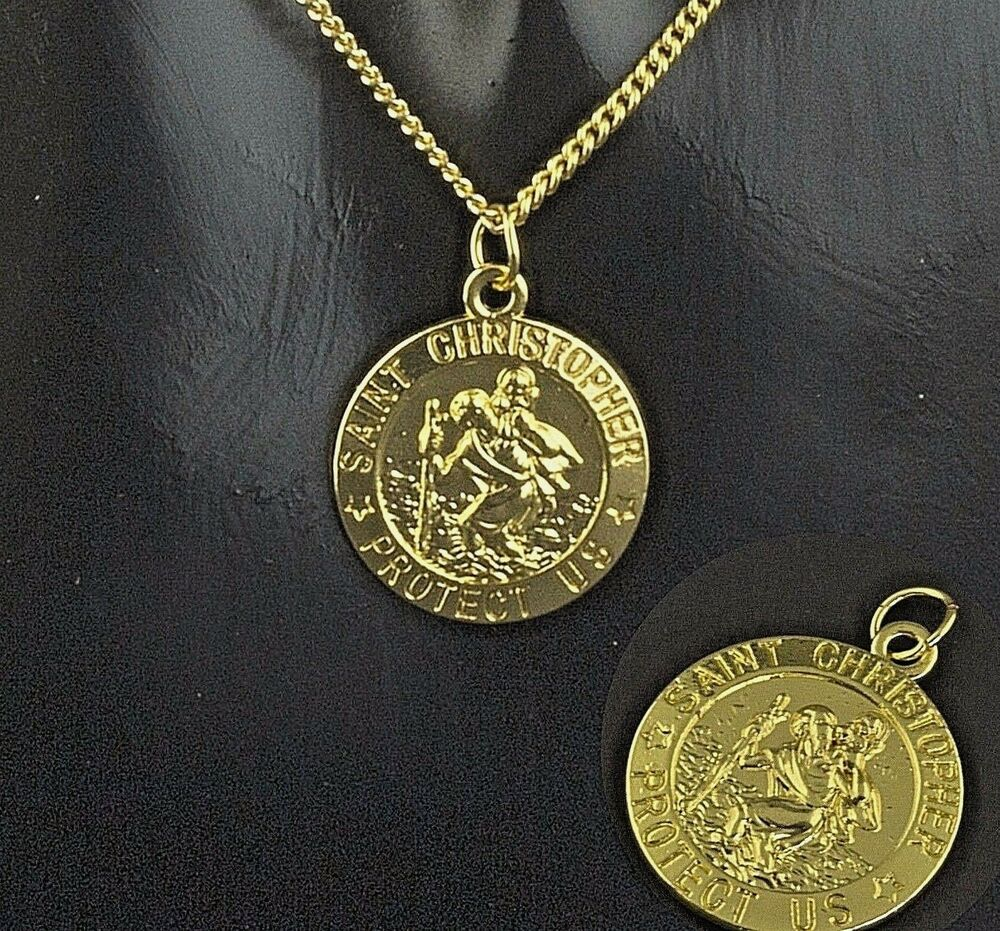 New Gold Plated St Christopher Pendant Mens Chain Womens