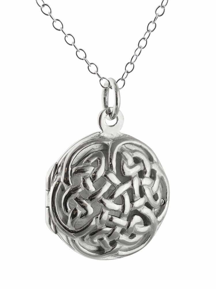 0f6507193eada Celtic Knot Locket Necklace - 925 Sterling Silver - Openwork Perfume Love  NEW