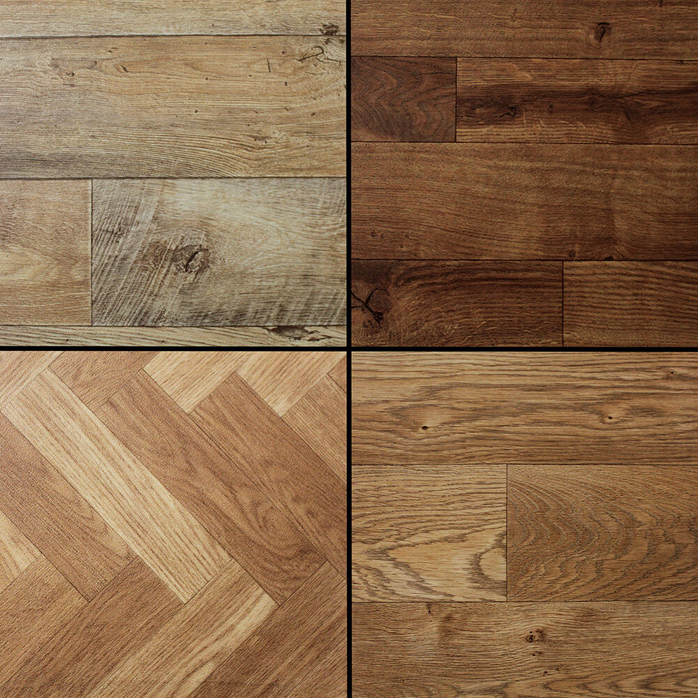 Wood stained dark aged plank effect brand new high quality for Wooden floor lino