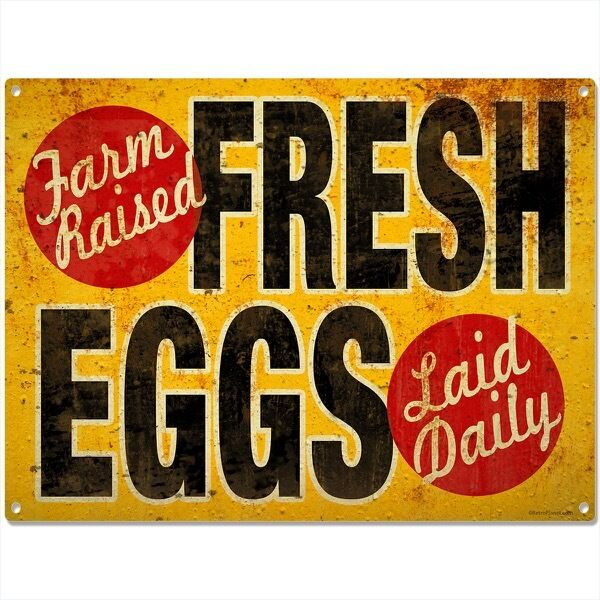 Fresh Eggs Vintage-Style Country Kitchen Sign Chicken Coop