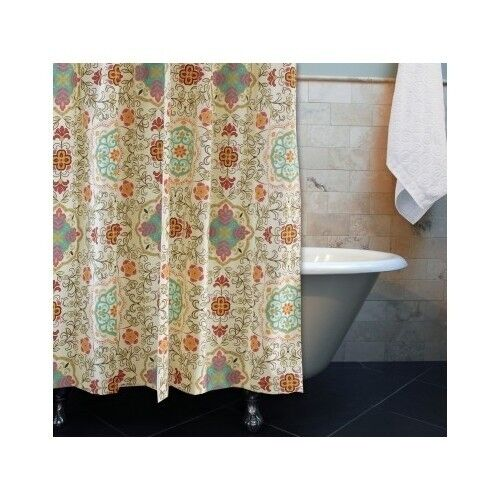 Boho Shower Curtain Exotic Spice Print Bohemian Bath Room