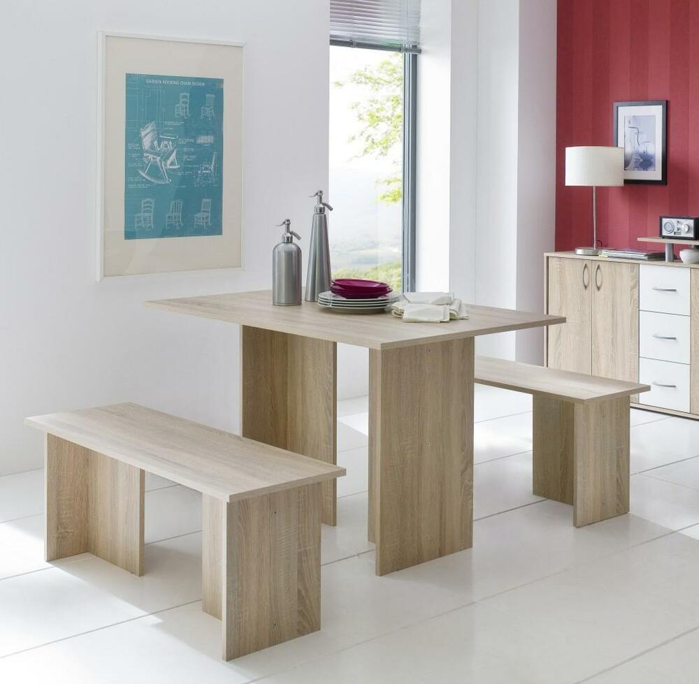 essgruppe tischgruppe medock in sonoma eiche tisch 120 x 80 2 b nke ebay. Black Bedroom Furniture Sets. Home Design Ideas