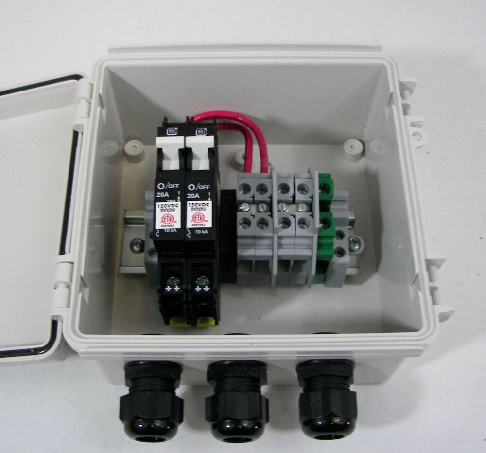 Solar Combiner Box with Circuit Breakers 2 String PV Combiner 10A ...