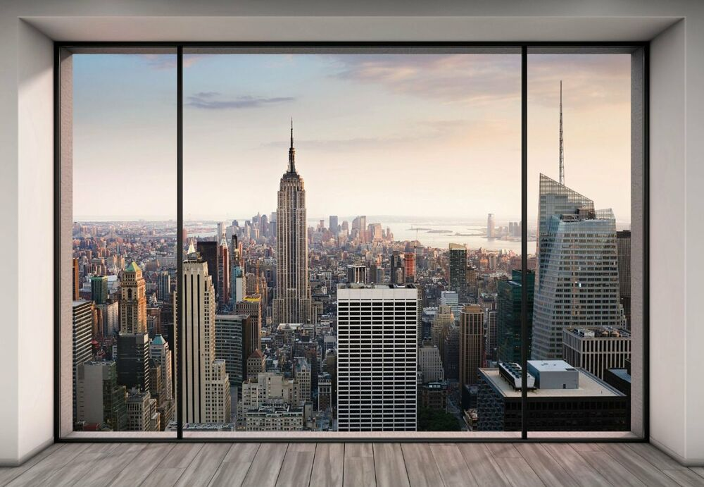 Nyc new york city manhattan skyline penthouse view photo for City view wallpaper mural