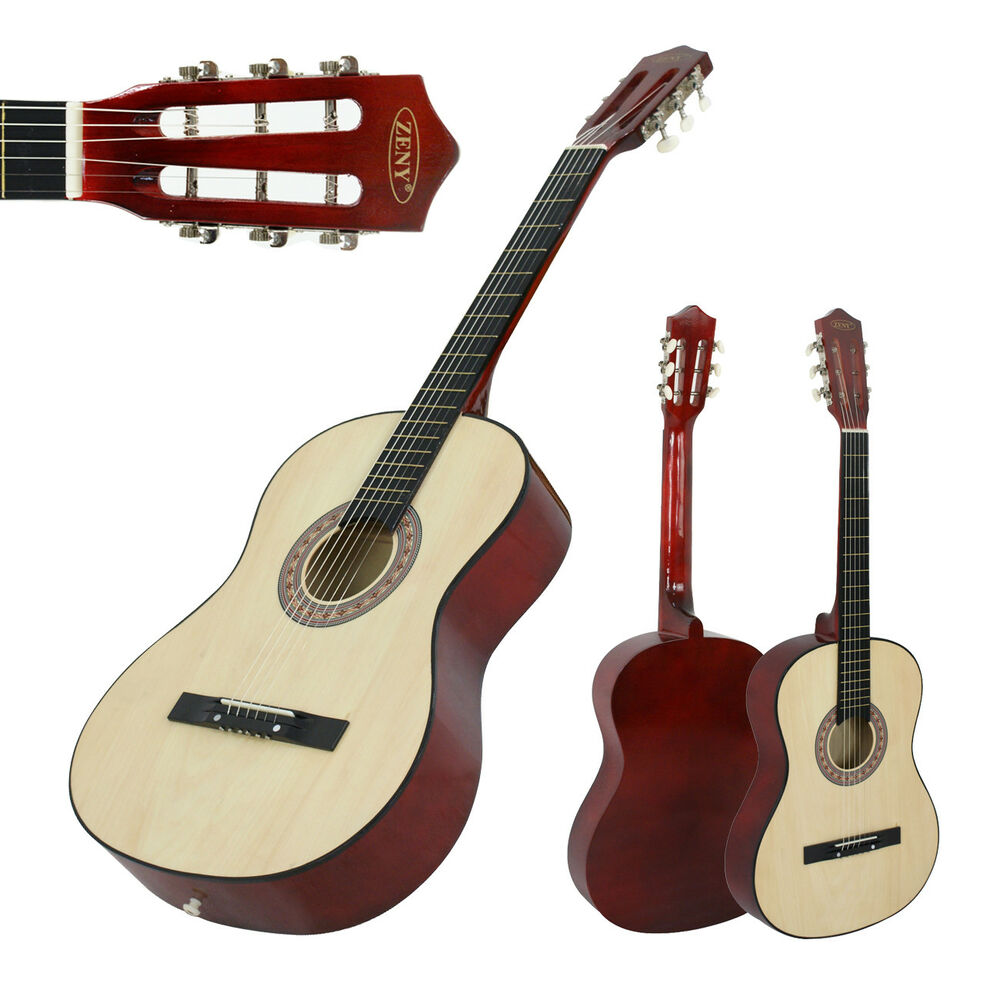 38 beginners acoustic wooden guitar with guitar case strap tuner pick natural ebay. Black Bedroom Furniture Sets. Home Design Ideas