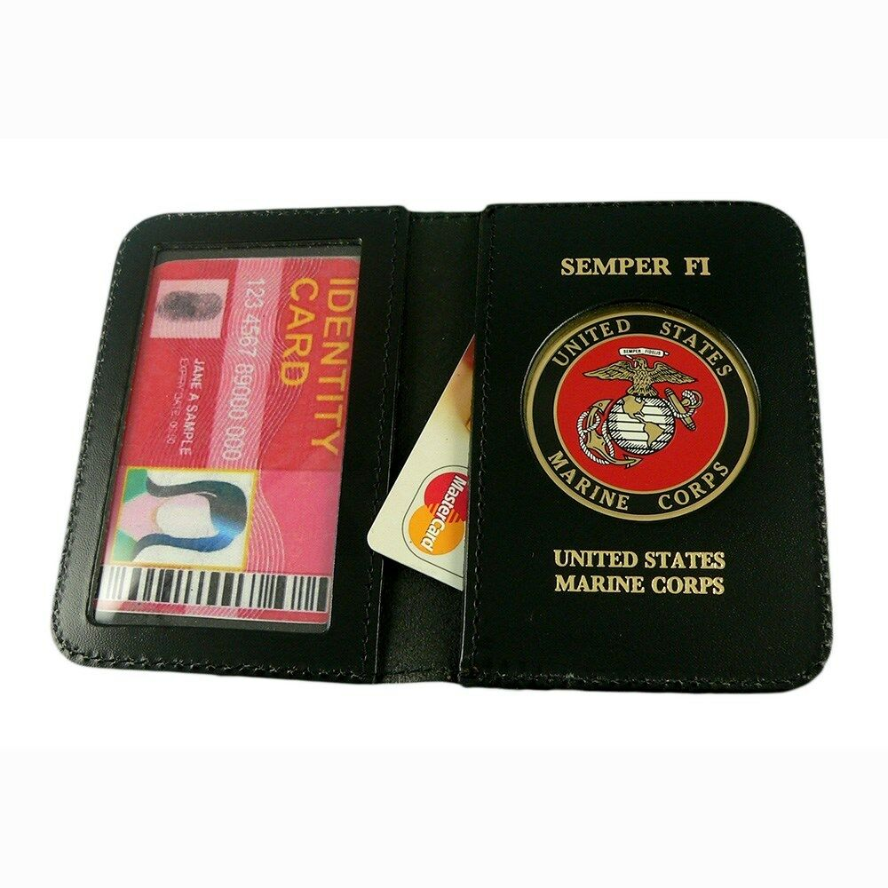 U s marine corps usmc leather military id license credit for Marine corps business cards