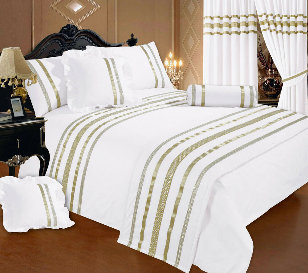 double bed white gold ribbon 200 thread count hotel quality duvet cover set ebay. Black Bedroom Furniture Sets. Home Design Ideas