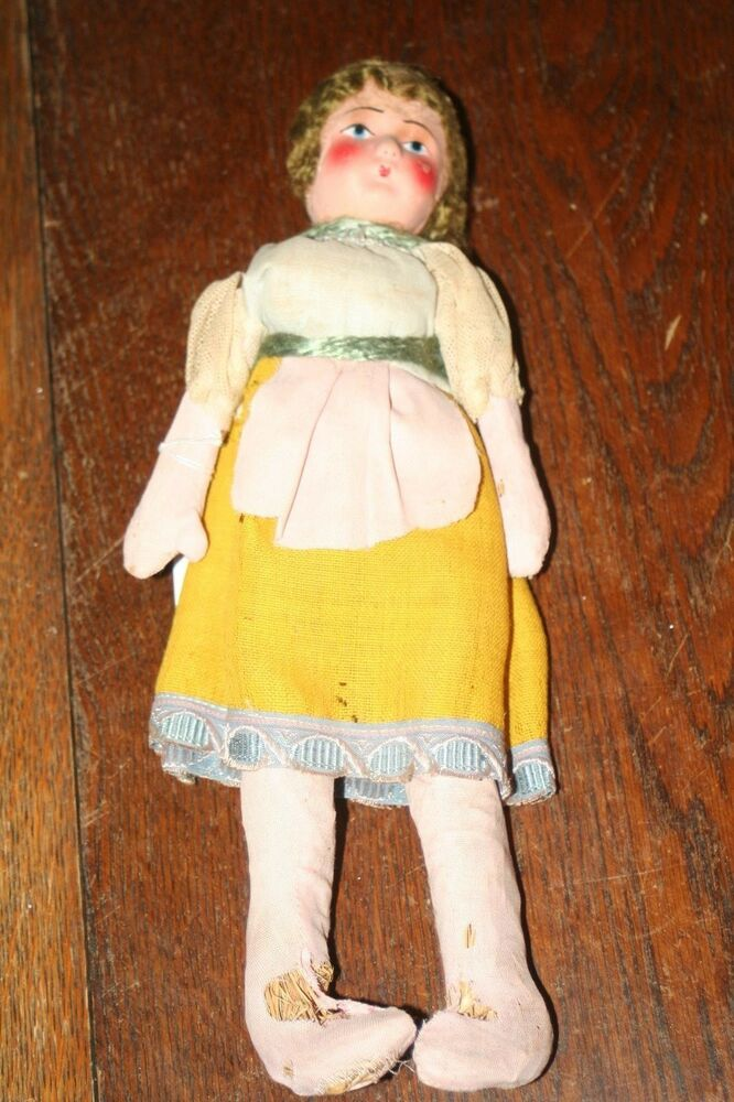antique composition bisque straw filled doll