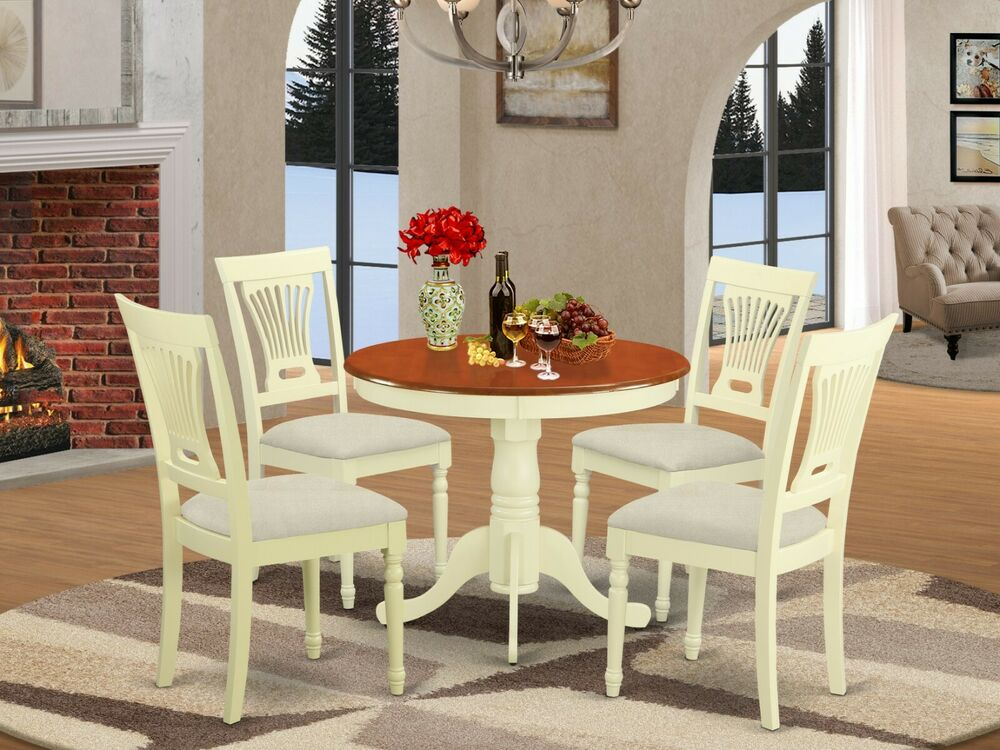 "5pc Kitchen dinette 36"" round pedestal table + 4 padded ..."