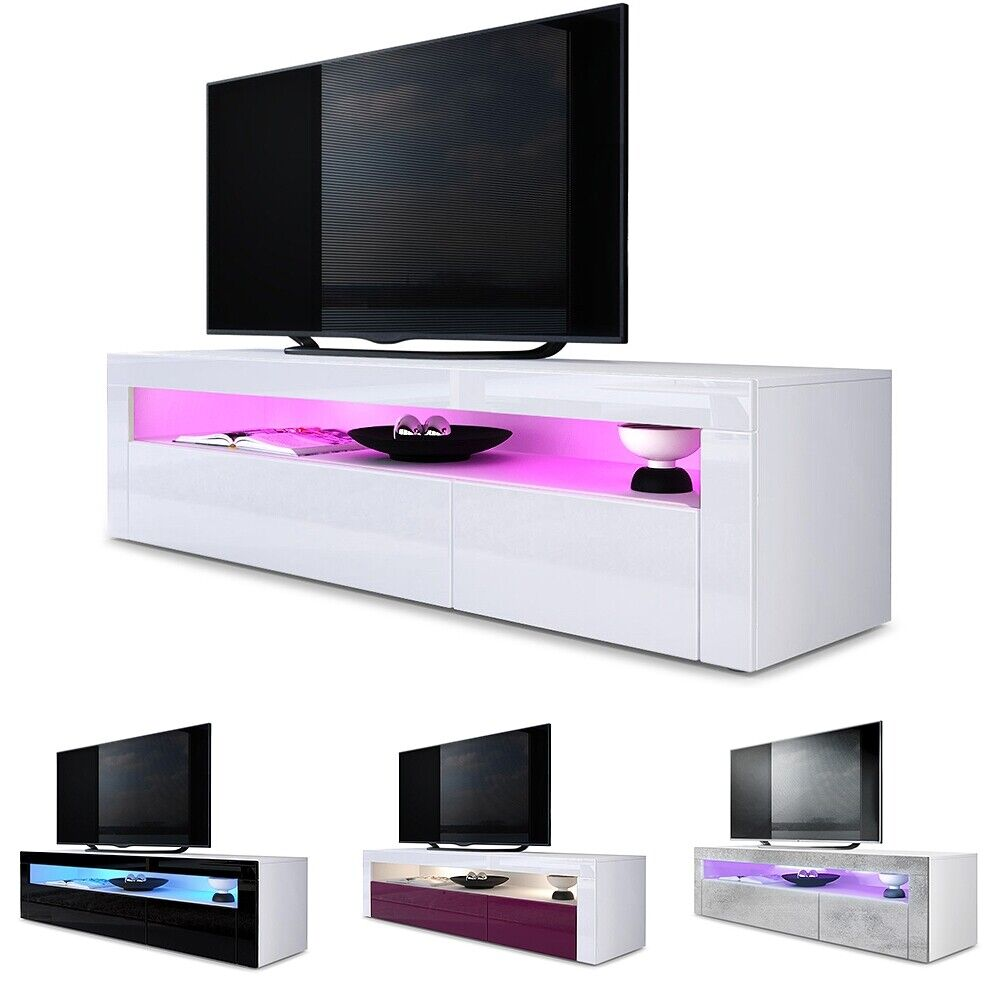 tv unit stand sideboard led valencia in white high gloss natural tones ebay. Black Bedroom Furniture Sets. Home Design Ideas