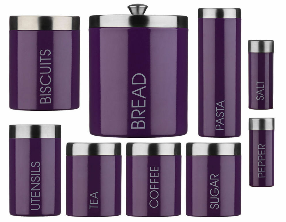 purple kitchen storage set purple enamel storage canisters set tea coffee sugar 4455