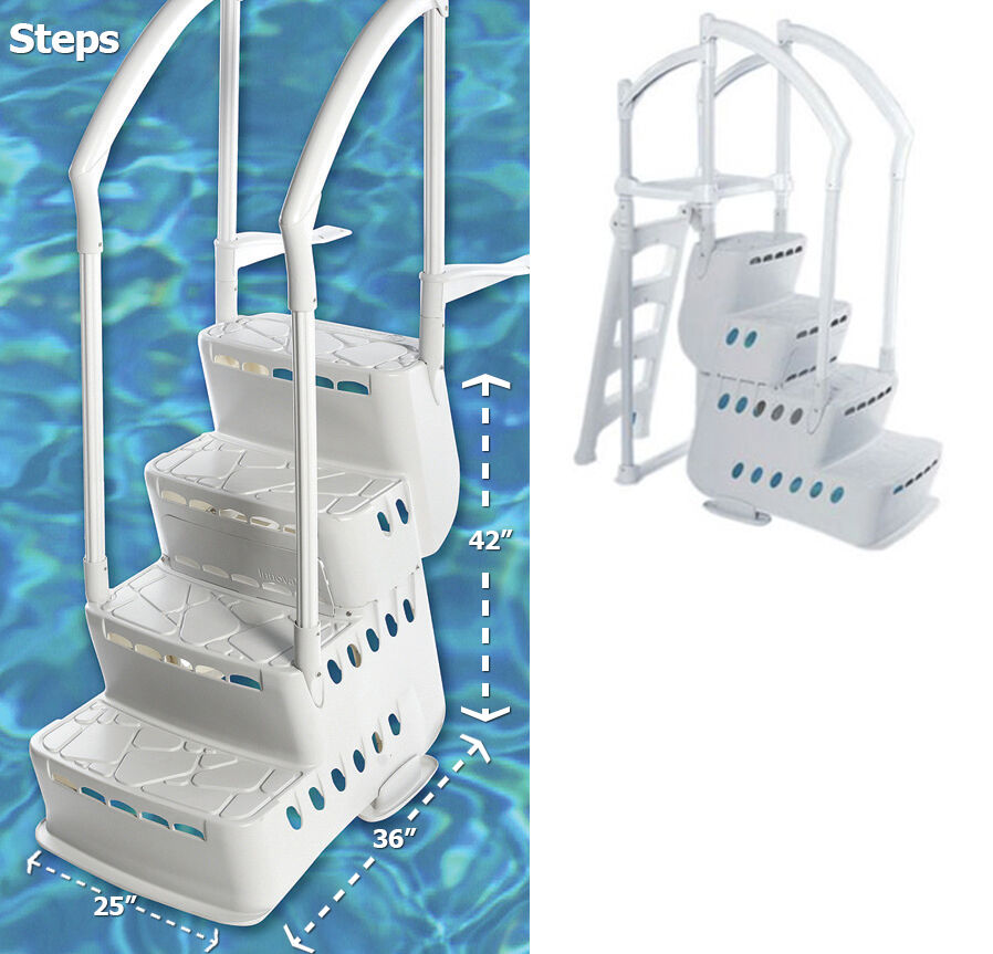 Innovaplas biltmor above ground in pool ladder step entry system w deck mounts ebay - Above ground pool steps ...