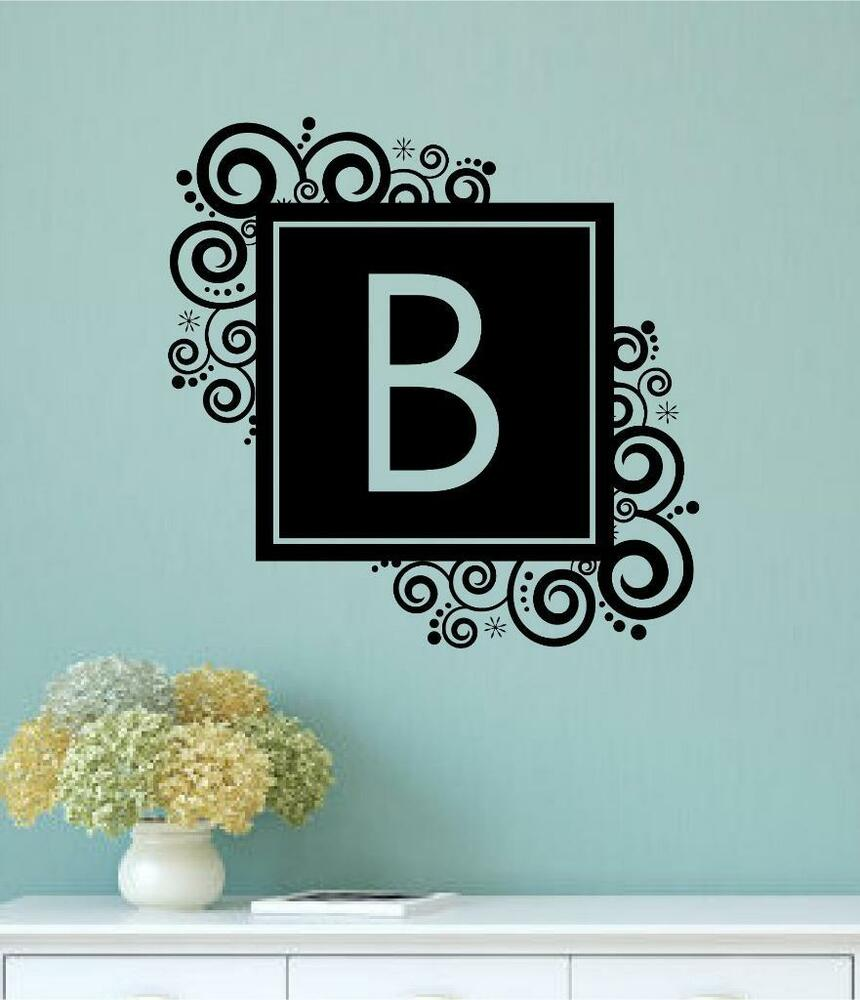 Personalized Wall Decor Letters : Custom monogram letter vinyl decal wall decor sticker