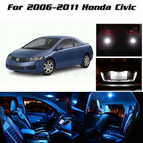 10pcs Interior Led Package Back Up Lights For 2006 2011 Honda Civic Ice Blue Ebay