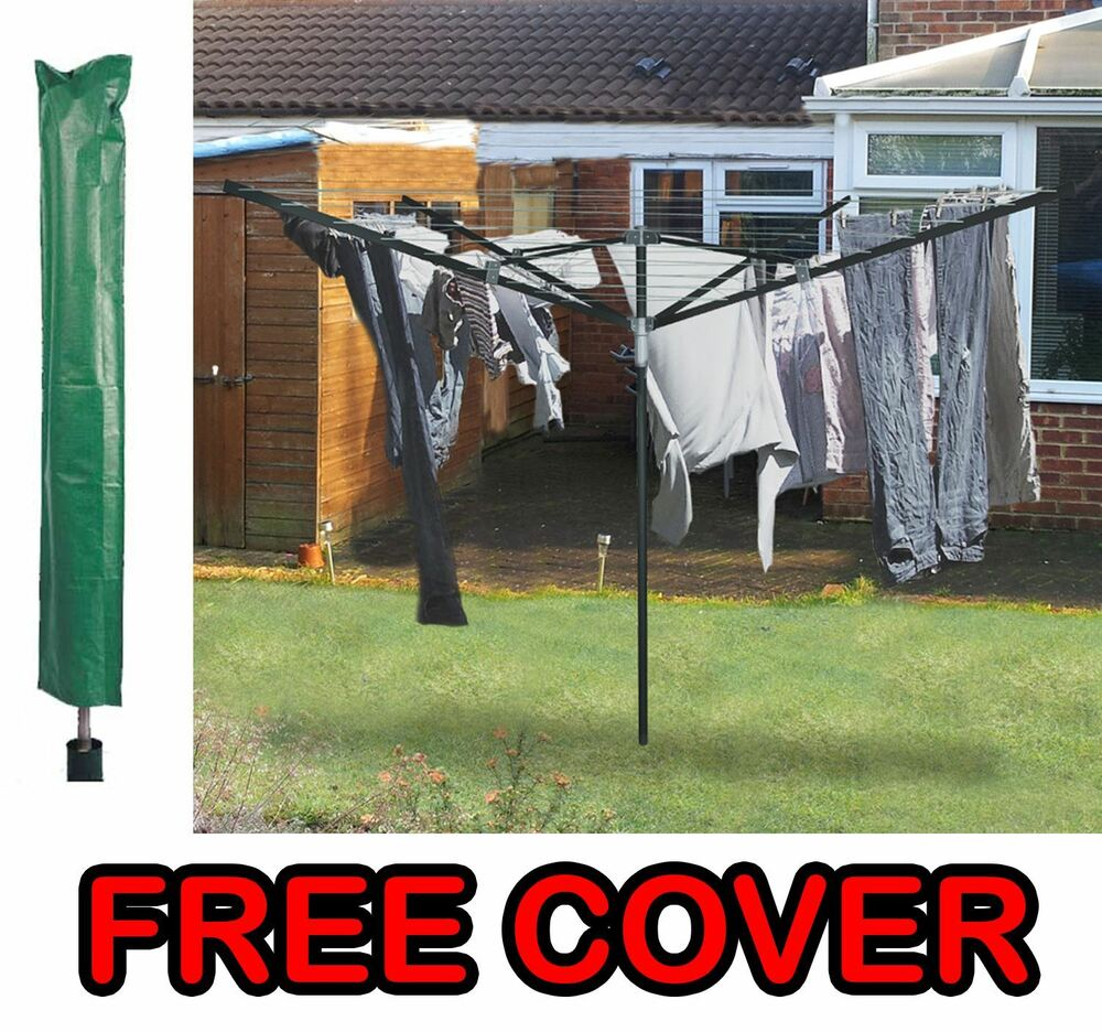 4 Arm 50m Rotary Outdoor Washing Line Airer Clothes Dryer