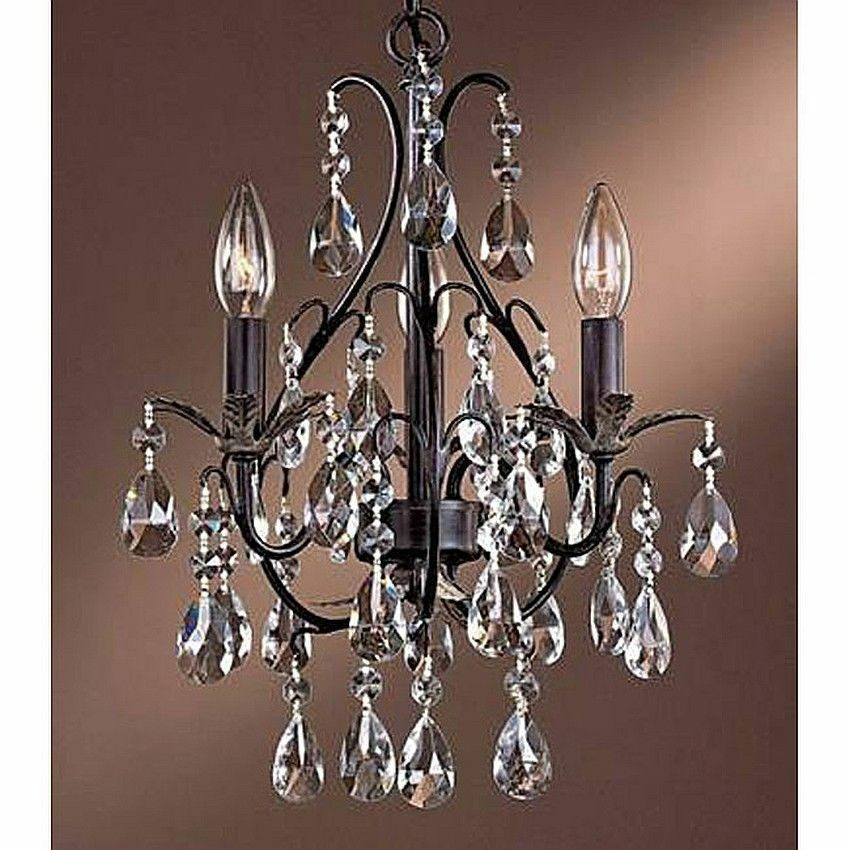 Small chandelier crystal 3 light antique copper ceiling hang fixture dining room ebay - Small dining room chandeliers ...