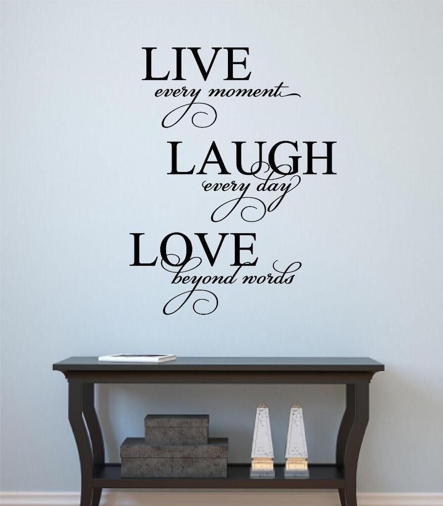 live laugh love vinyl decal wall decor sticker words letters quote home decor ebay. Black Bedroom Furniture Sets. Home Design Ideas