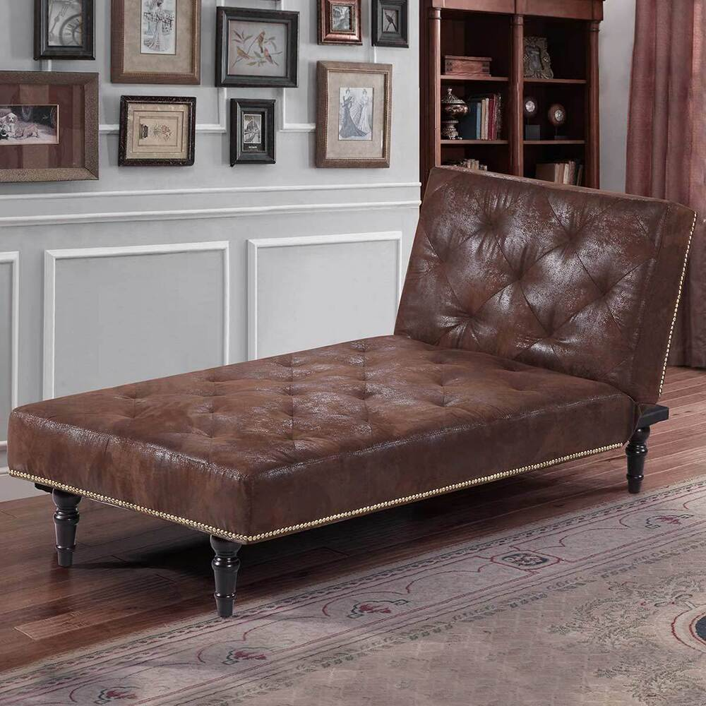 Brown faux suede leather chaise longue single sofa bed vintage classic style ebay - Sofa bed with chaise lounge ...