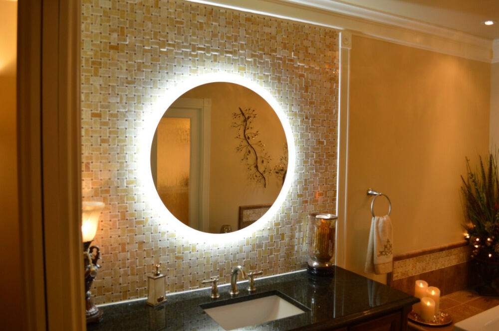 mam2d36 36 round side lighted vanity mirror wall mounted led makeup mirror ebay. Black Bedroom Furniture Sets. Home Design Ideas