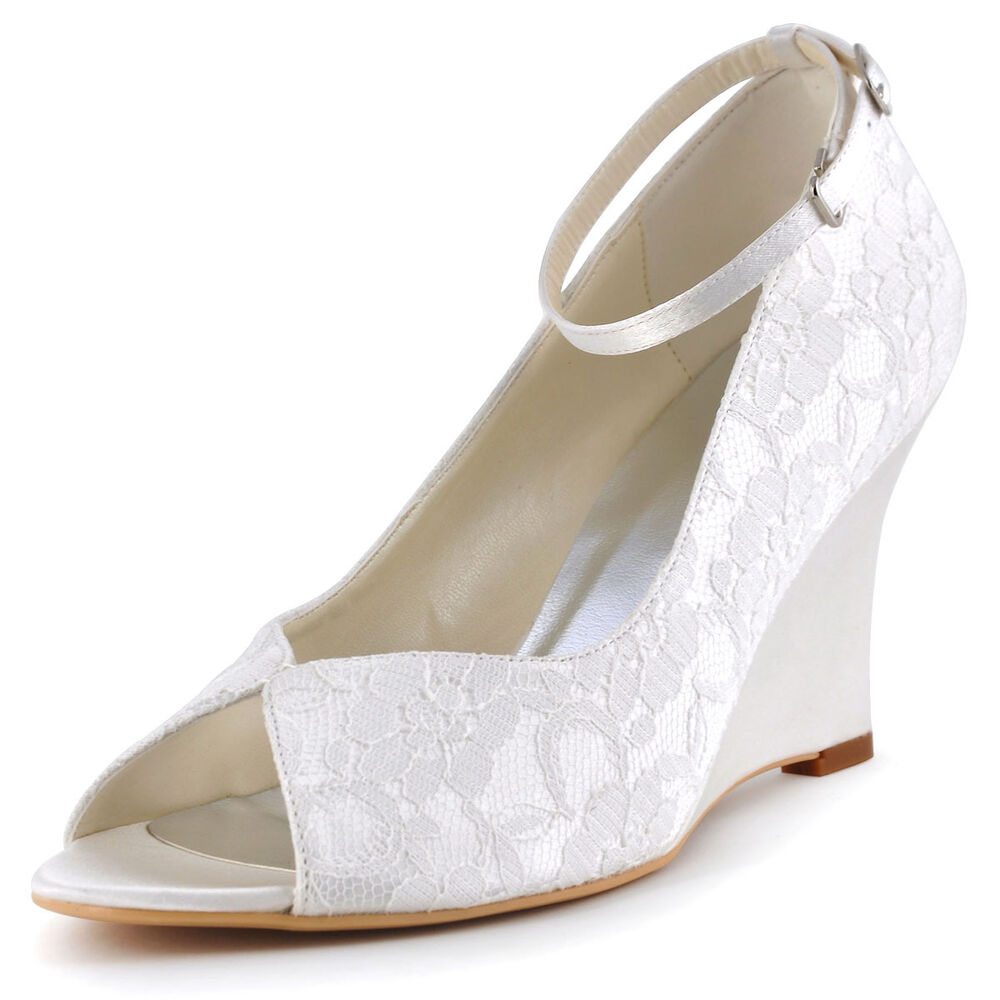 Wedge Heel Shoes For Wedding: WP1415 Peep Toe High Heels Wedges Ankle Strap Lace Dress