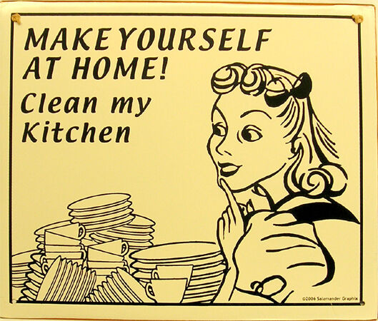 make yourself at home clean my kitchen humor rustic vintage metal sign ebay. Black Bedroom Furniture Sets. Home Design Ideas